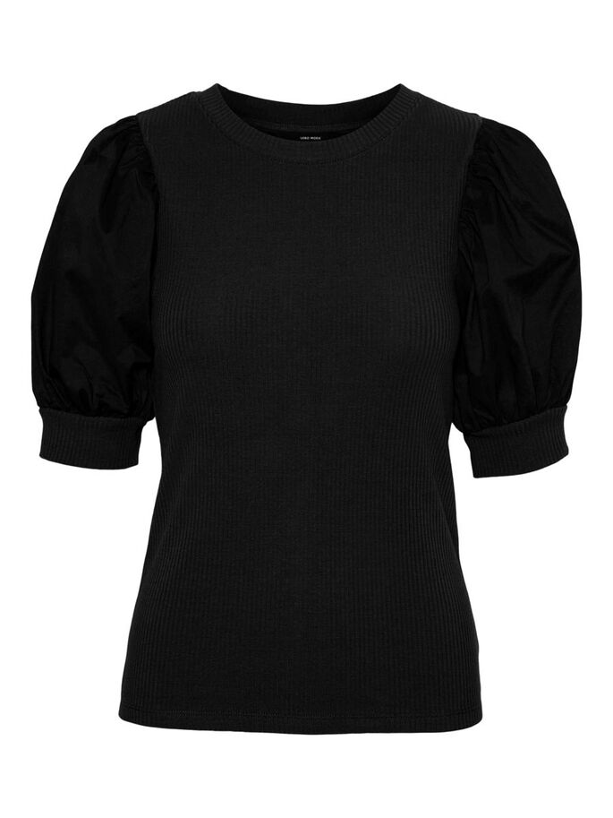 PUFF SLEEVED TOP, Black, large