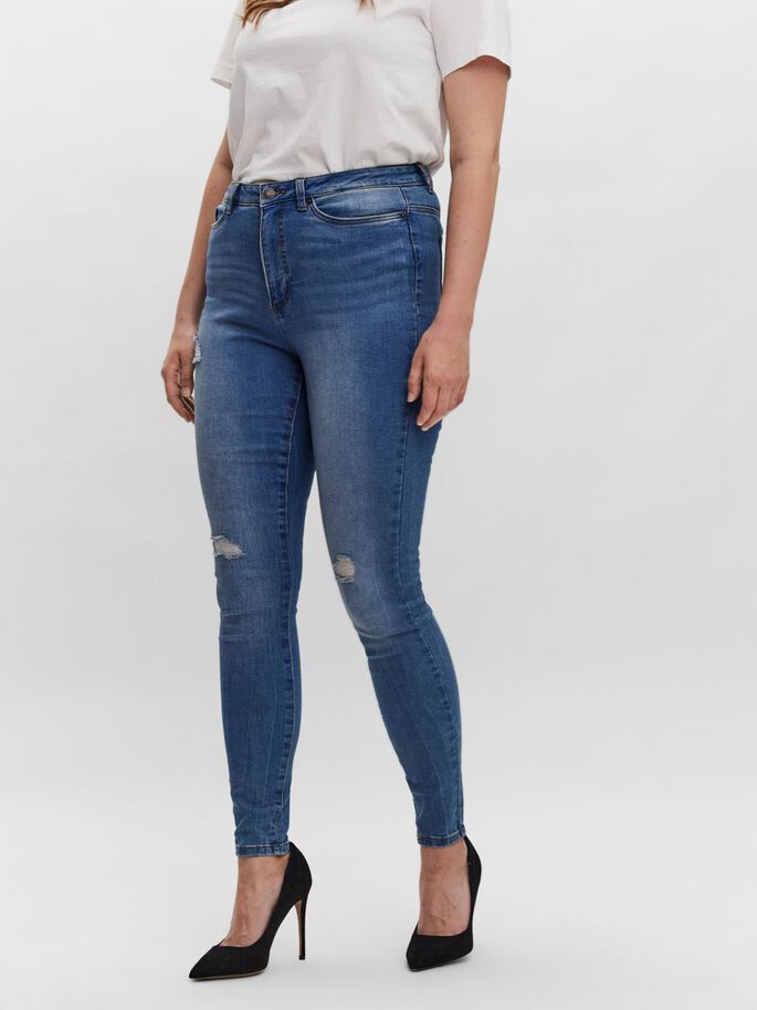 VMLORAMINA NORMAL WAIST SKINNY FIT JEANS, Medium Blue Denim, large