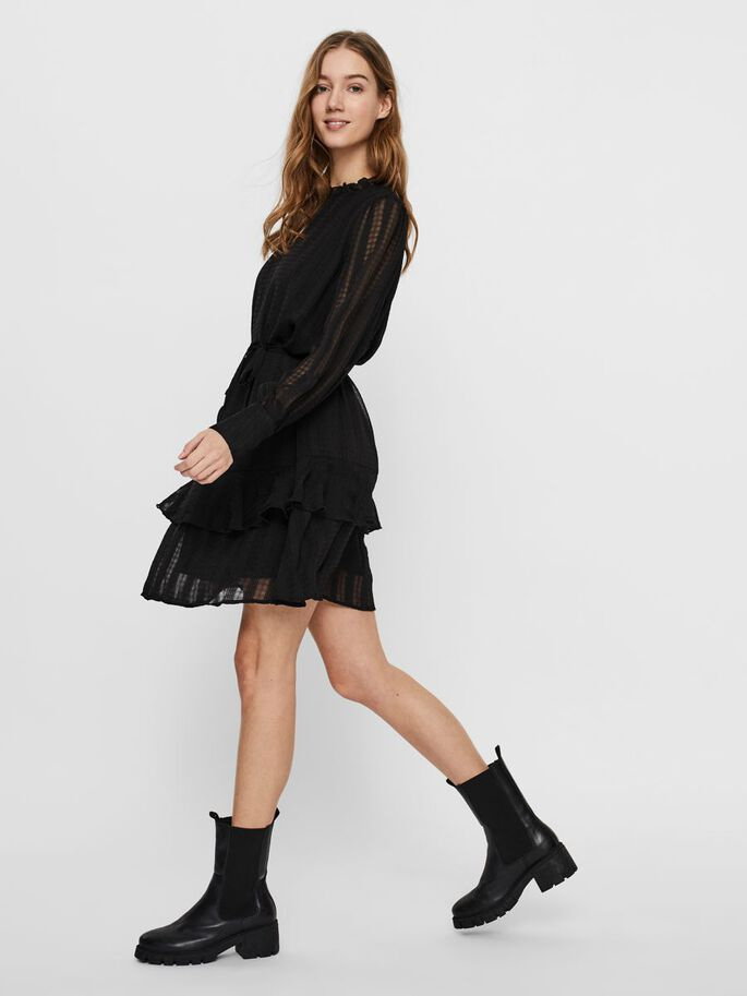 LONG SLEEVED MINI DRESS, Black, large
