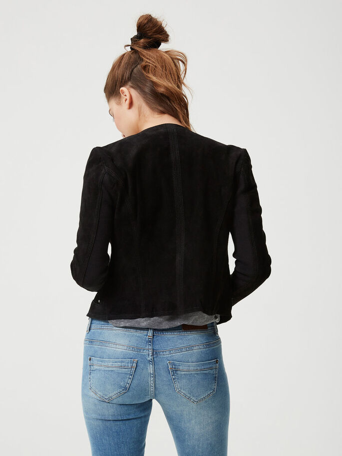 SHORT SUEDE JACKET, Black, large