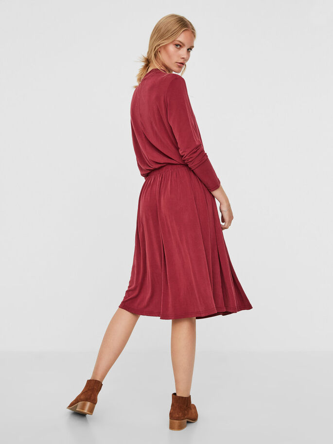 FEMININE LONG SLEEVED DRESS, Zinfandel, large