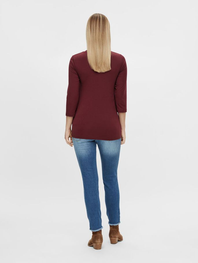 MLMACY 3/4 SLEEVED MATERNITY TOP, Tawny Port, large