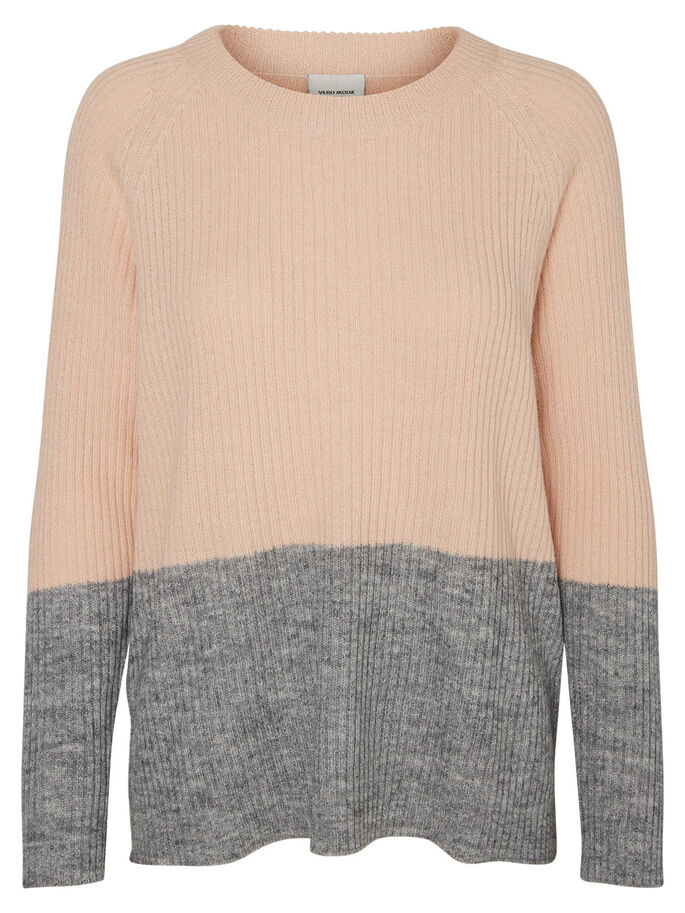CASUAL KNITTED PULLOVER, Peach Whip, large