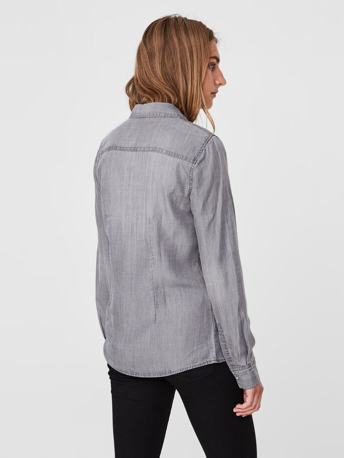 DENIM SHIRT, Light Grey Denim, large
