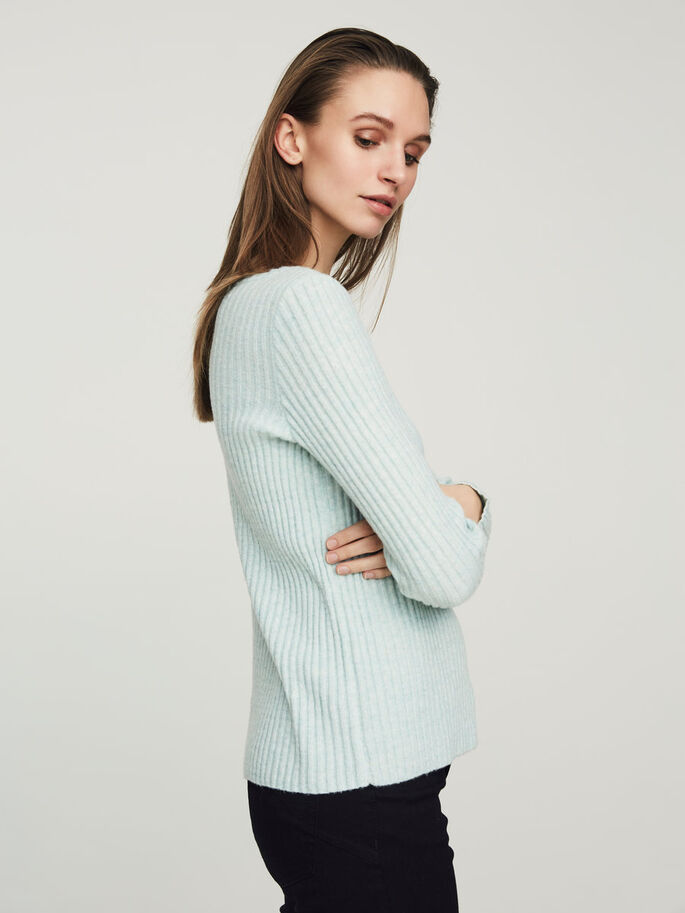 CASUAL KNITTED PULLOVER, Blue Surf, large