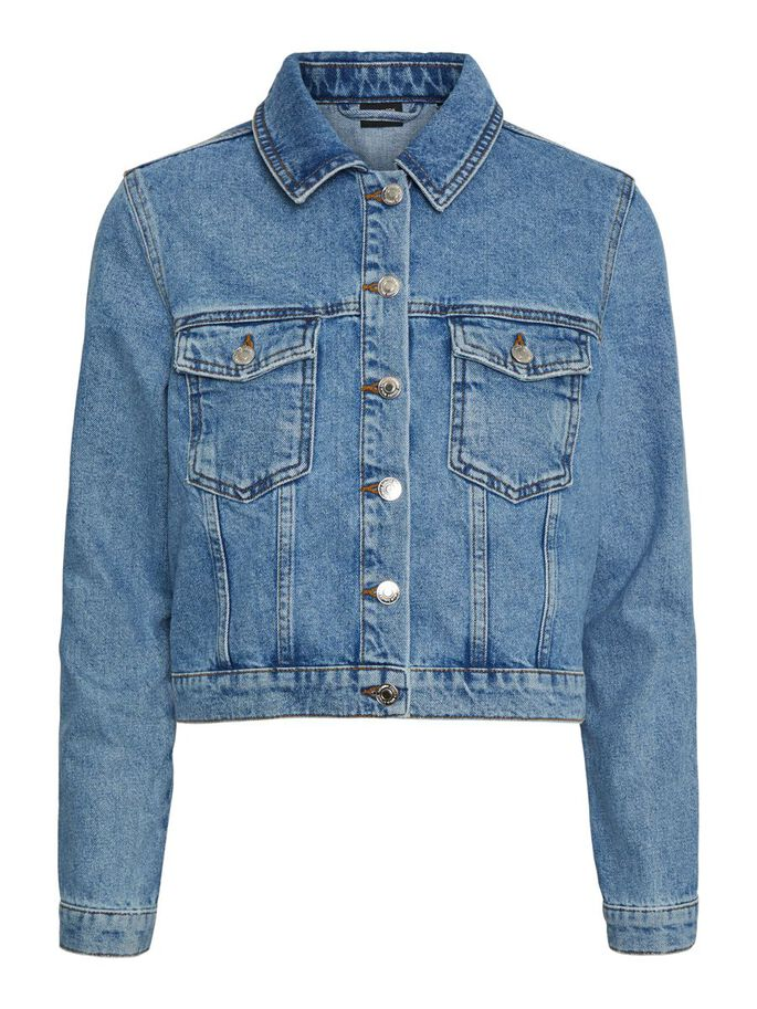 SHORT DENIM JACKET, Light Blue Denim, large