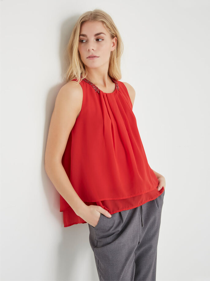 FEMININ ERMELØS TOPP, Racing Red, large
