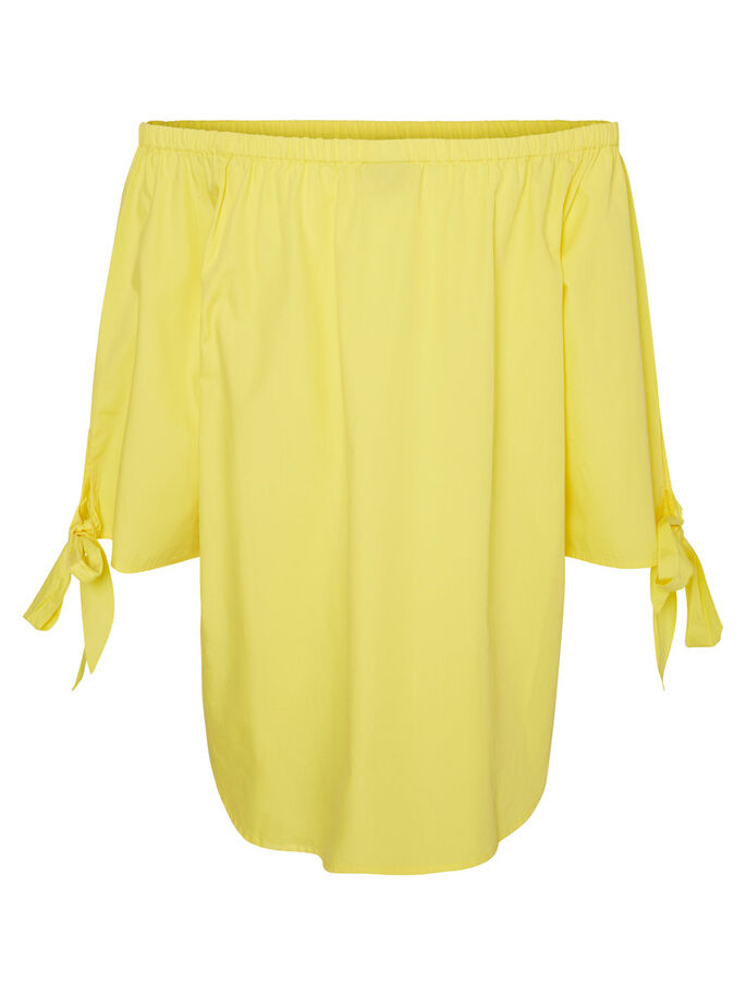 OFF-SHOULDER 3/4 SLEEVED TOP, Lemon Zest, large