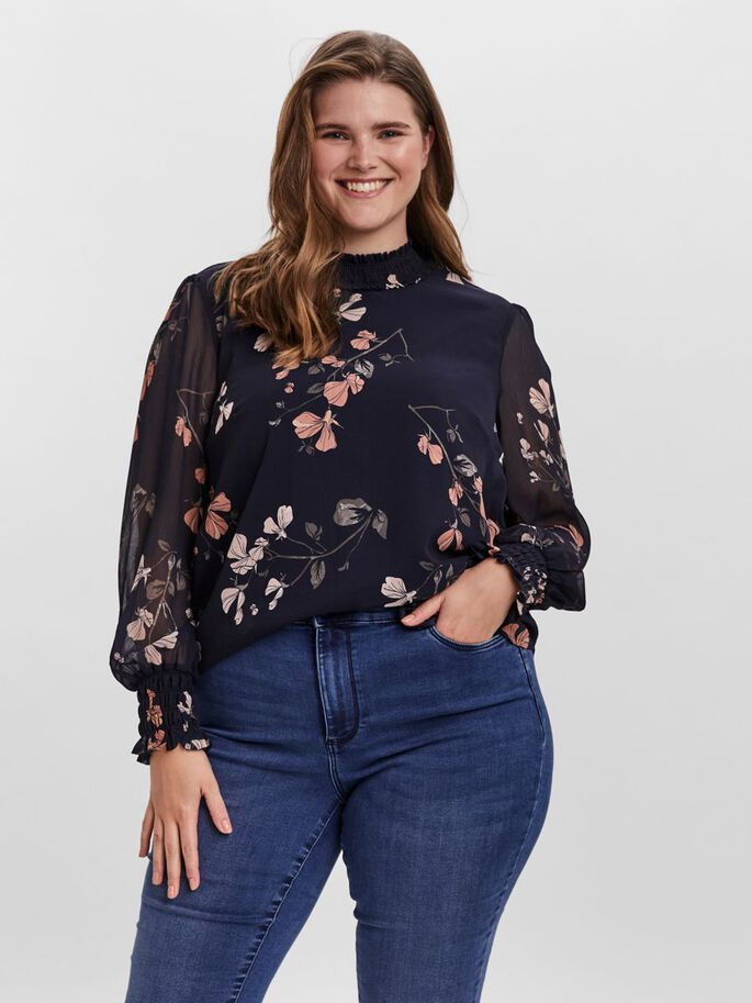 FLORAL LONG SLEEVED TOP, Night Sky, large