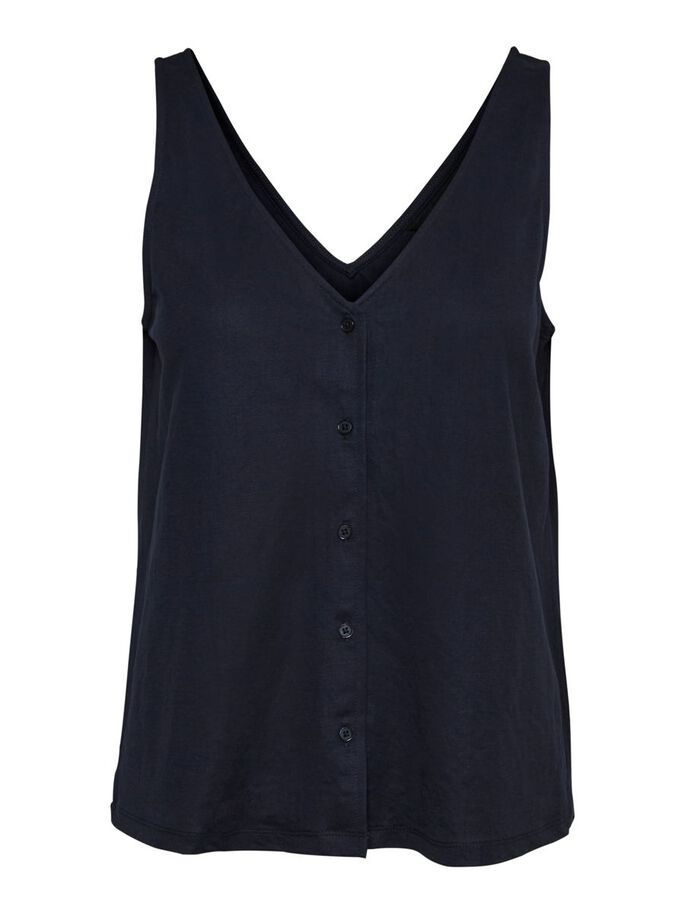 BUTTON SLEEVELESS TOP, Navy Blazer, large
