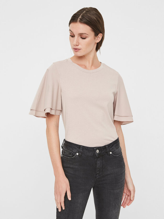 FRILLS SHORT SLEEVED TOP, Sphinx, large