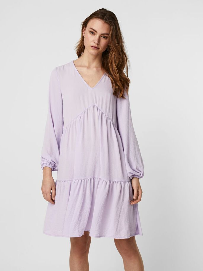 V-NECK MIDI DRESS, Pastel Lilac, large