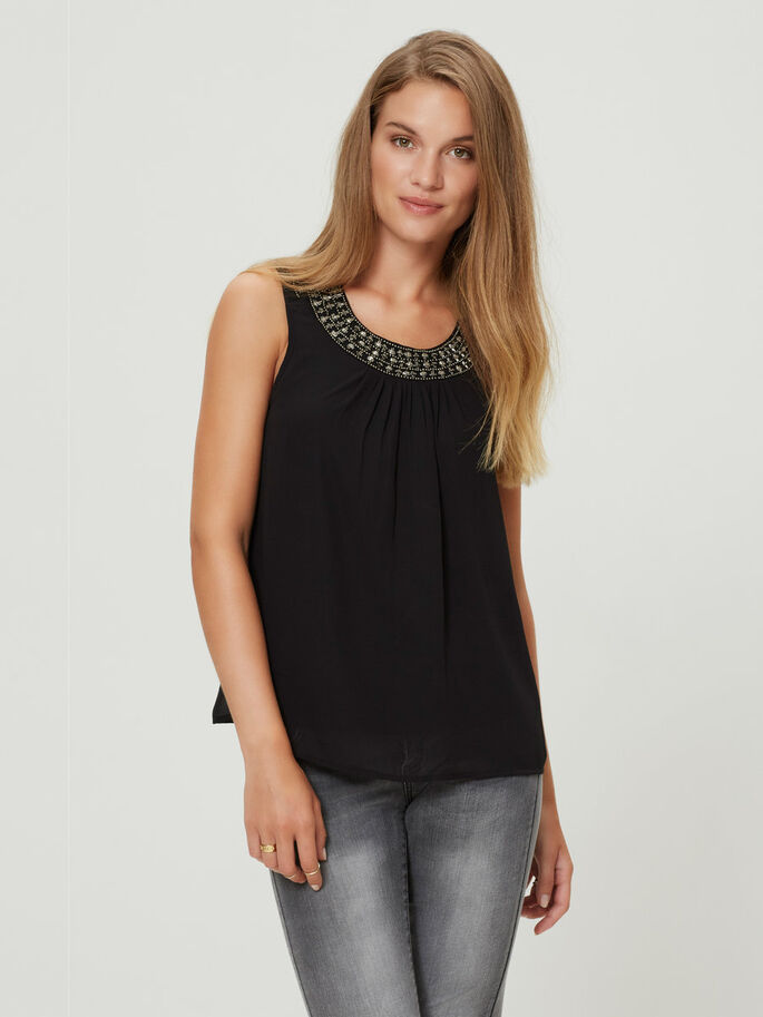 KRALEN MOUWLOZE TOP, Black, large