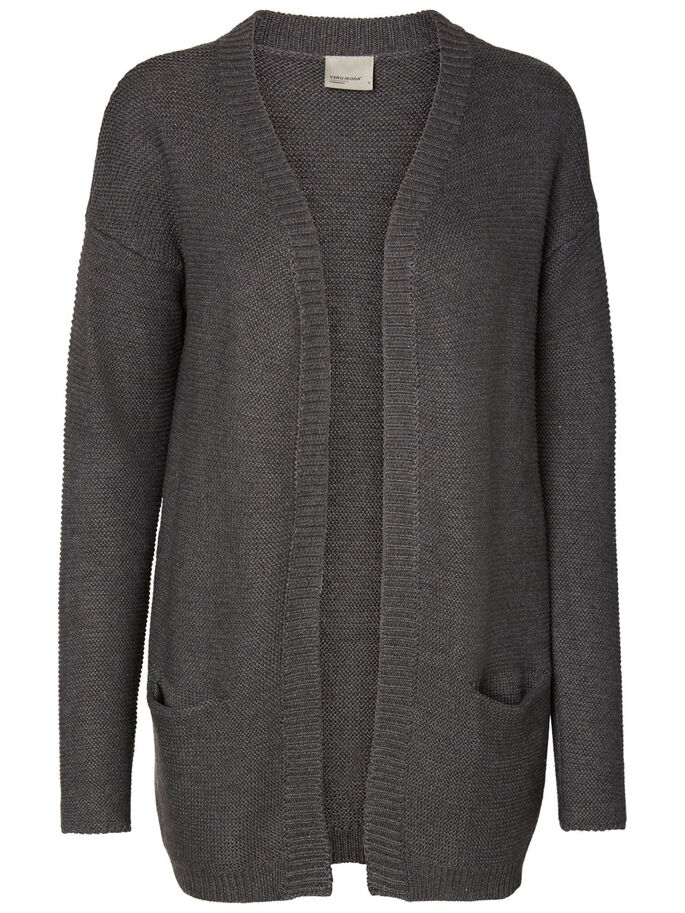 COMFY KNITTED CARDIGAN, Dark Grey Melange, large