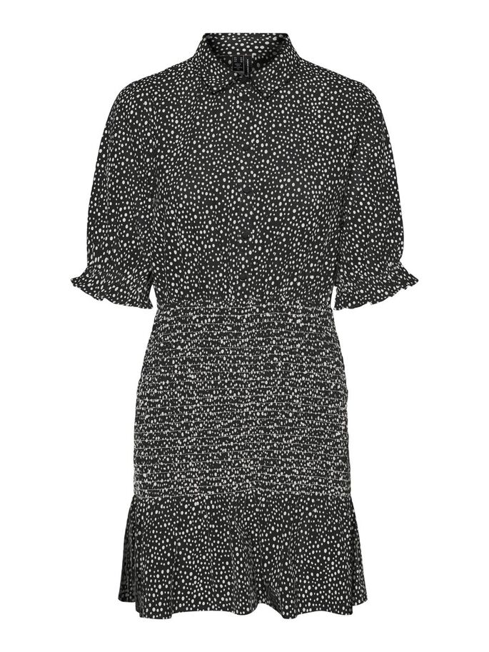 SMOCK MINI DRESS, Black, large