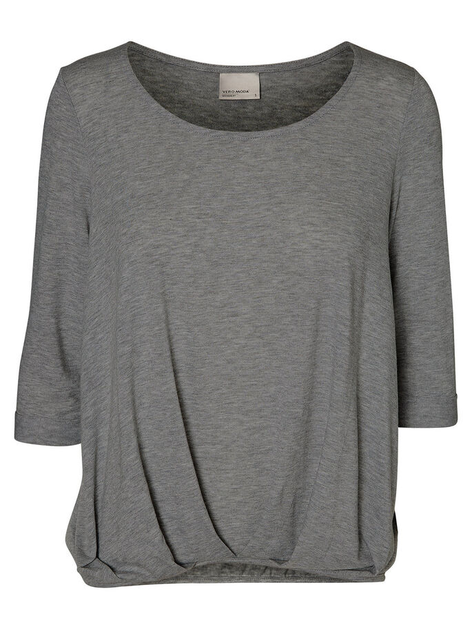 CASUAL BLOUSE MANCHES 3/4, Dark Grey Melange, large