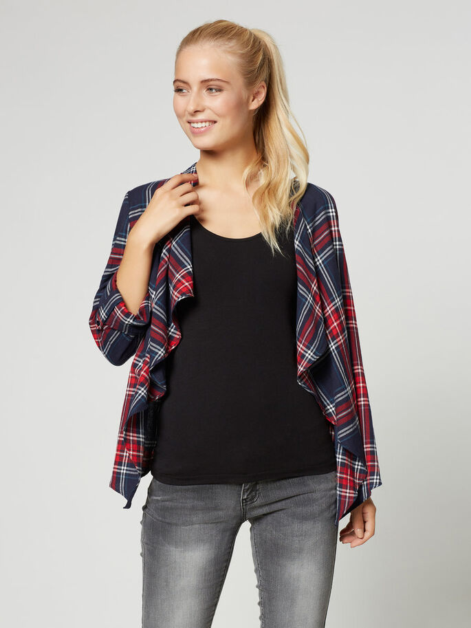 CHEQUERED CARDIGAN, Black Iris, large