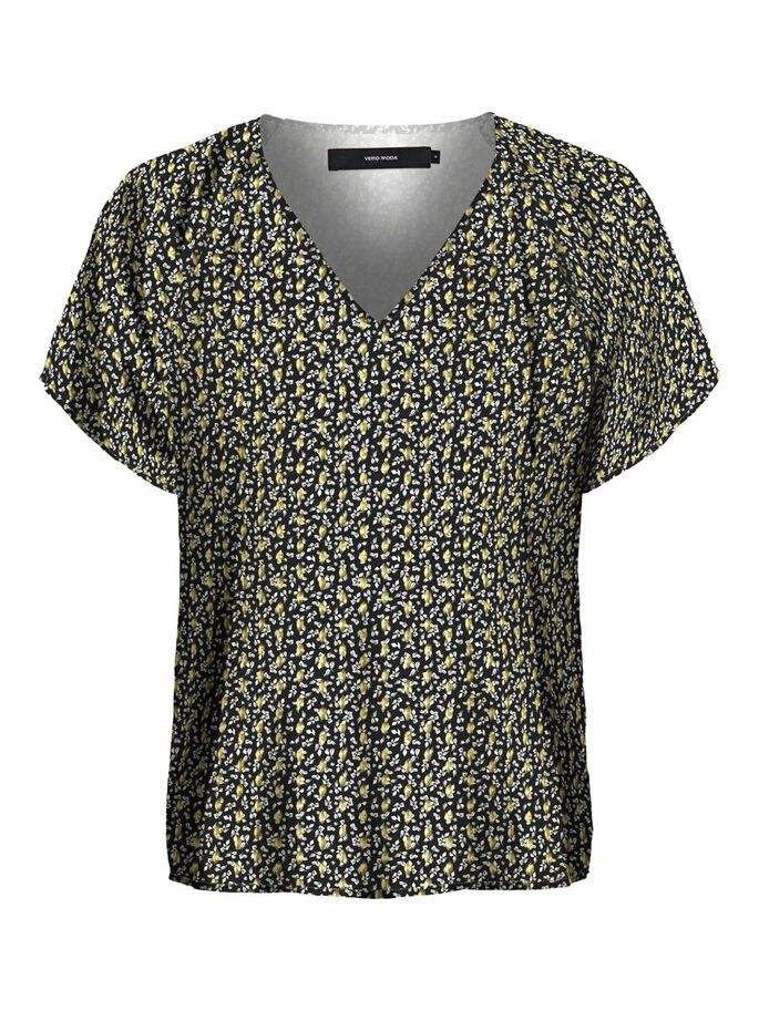 PRINTED V-NECK SHORT SLEEVED TOP, Black, large
