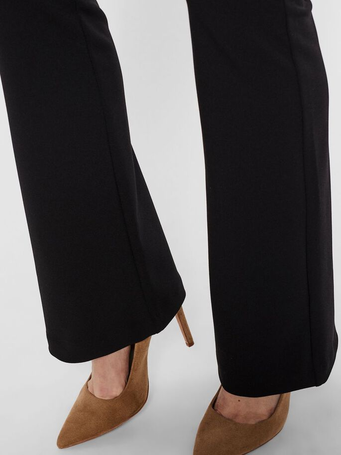 NORMAL WAIST FLARED TROUSERS, Black, large