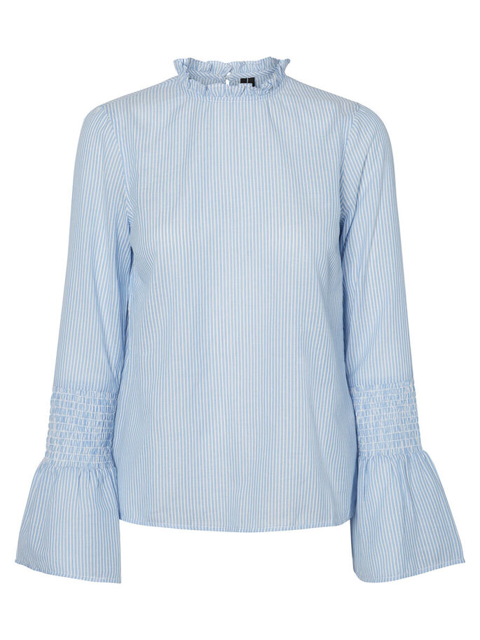 RUCHE SHIRT MET LANGE MOUWEN, Chambray Blue, large