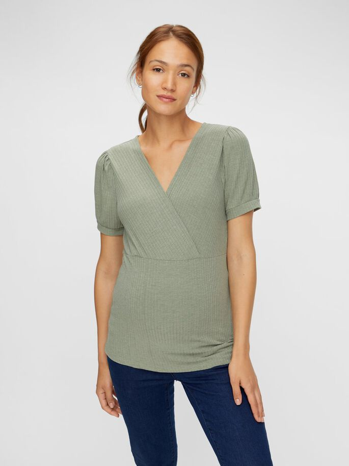 WRAP EFFECT 2-IN-1 MATERNITY TOP, Sea Spray, large