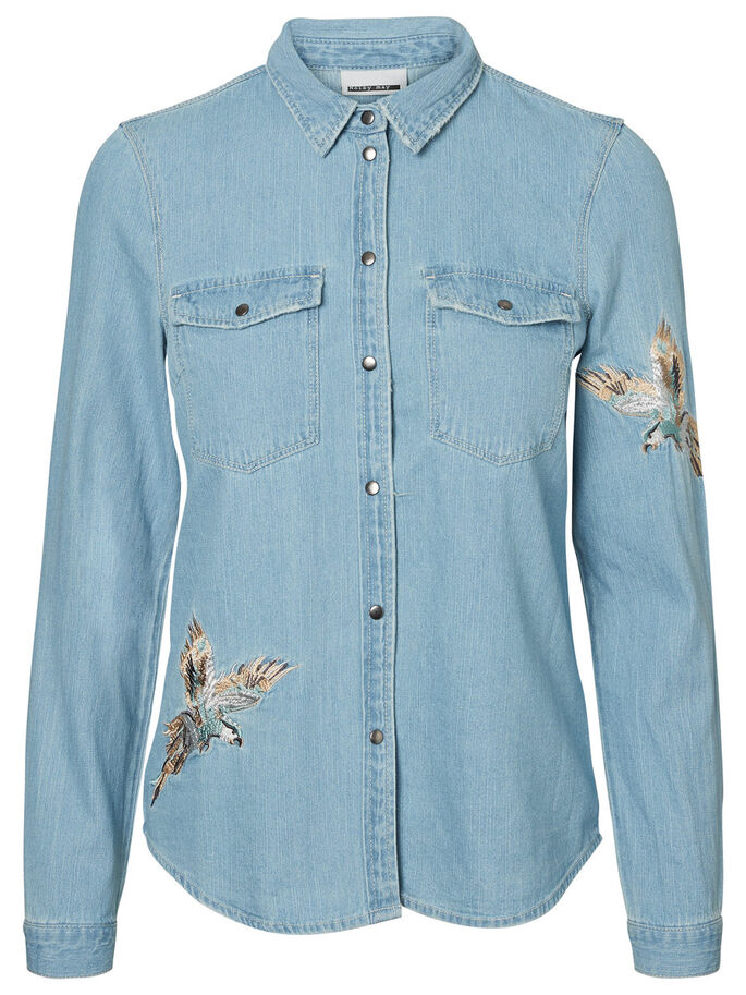 DETAILED DENIM SHIRT, Light Blue Denim, large