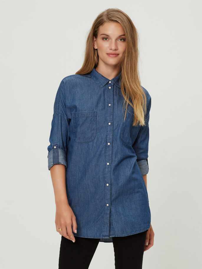OVERSIZED CHEMISE À MANCHES LONGUES, Medium Blue Denim, large