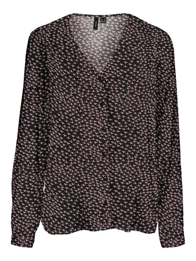 V-NECK PRINTED LONG SLEEVED TOP, Black, large