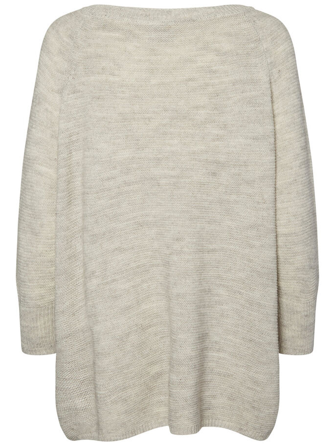LONG SLEEVED KNITTED PULLOVER, Light Grey Melange, large