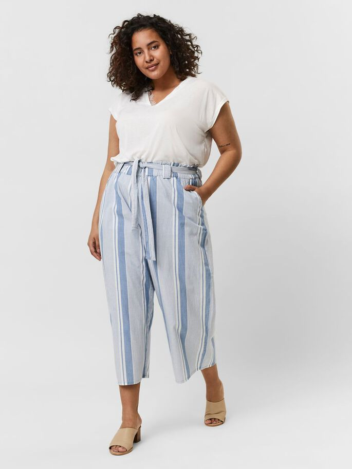 HIGH WAISTED PAPERBAG TROUSERS, Light Blue Denim, large