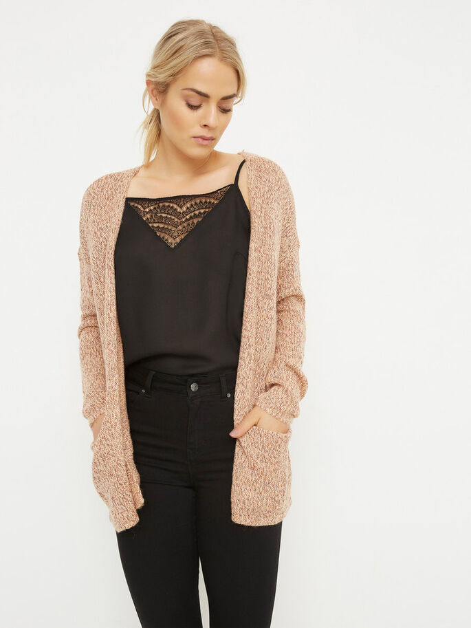 STRIKKET CARDIGAN, Dusty Coral, large