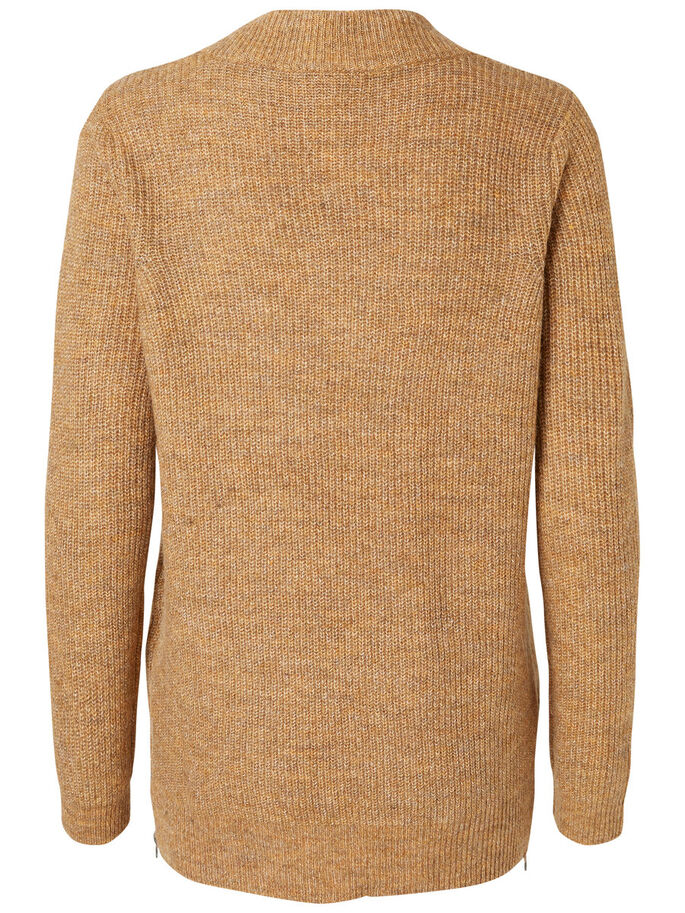 MANCHES LONGUES PULL EN MAILLE, Tobacco Brown, large