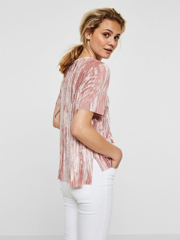 VELVET 2/4 SLEEVED BLOUSE, Ash Rose, large