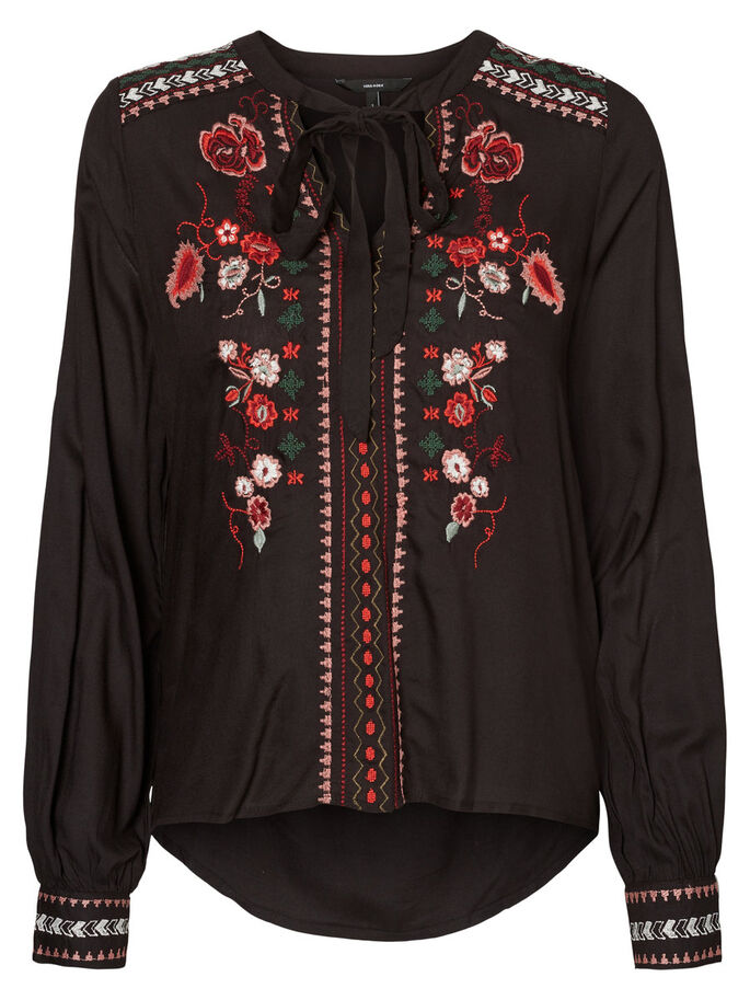 EMBROIDERED LONG SLEEVED BLOUSE, Black, large