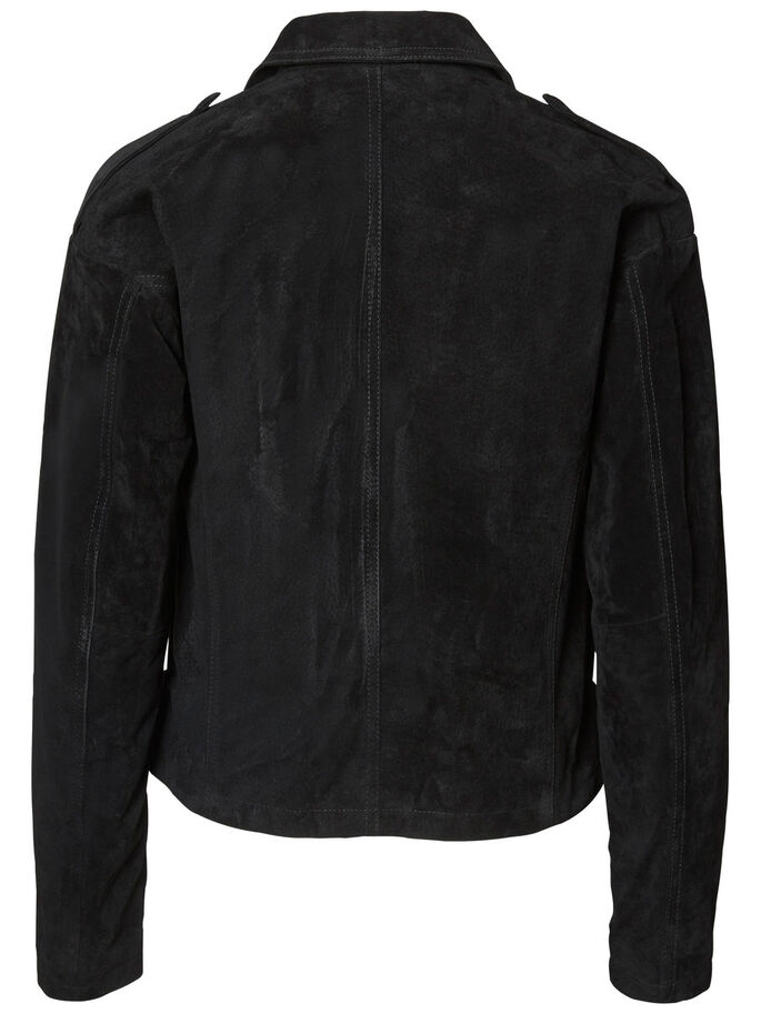 LONG SLEEVED LEATHER JACKET, Black, large