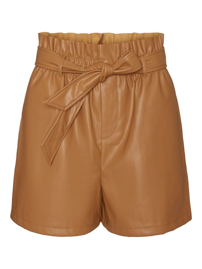 HIGH WAISTED COATED SHORTS, Tobacco Brown, large