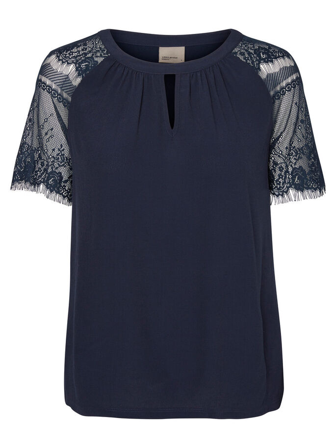 LACE SHORT SLEEVED TOP, Navy Blazer, large