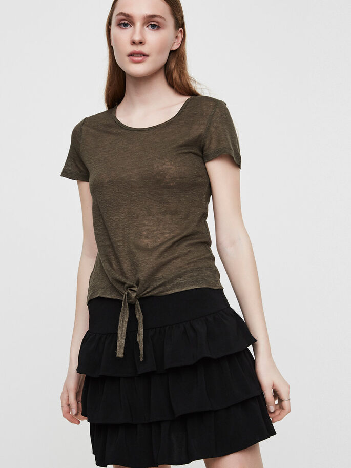 LINEN SHORT SLEEVED TOP, Ivy Green, large