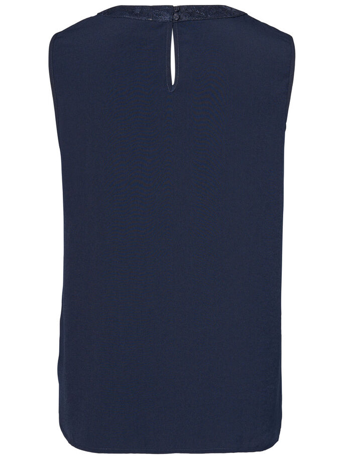 FEMININE SLEEVELESS TOP, Navy Blazer, large