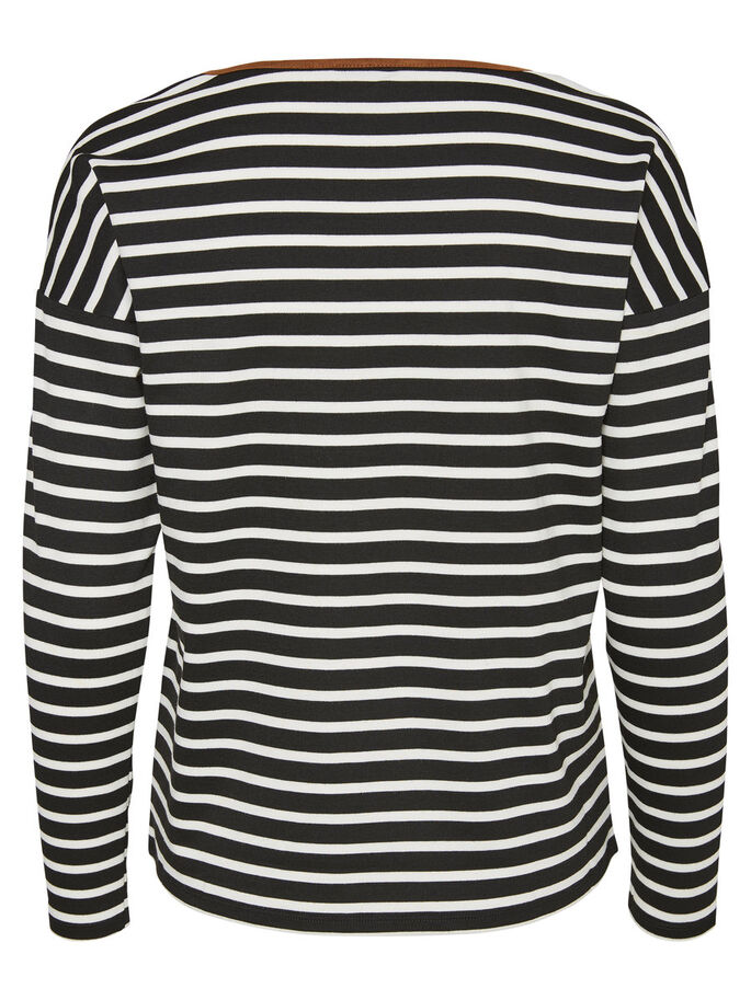 STRIPED LONG SLEEVED TOP, Snow White, large