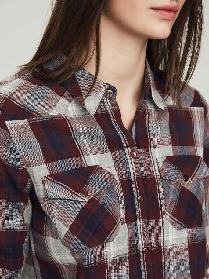 CHEQUERED LONG SLEEVED SHIRT, Decadent Chocolate, large