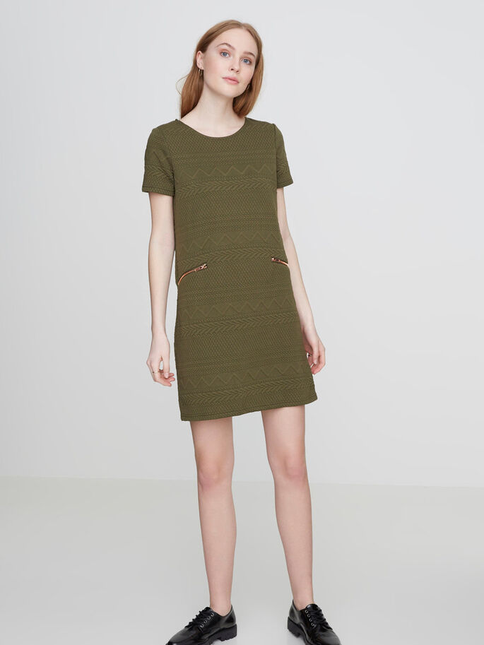 CASUAL SHORT SLEEVED DRESS, Ivy Green, large