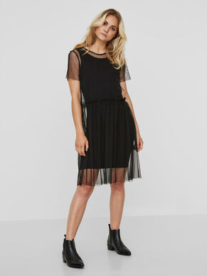 MESH SHORT SLEEVED DRESS
