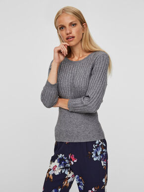 3/4 SLEEVED KNITTED PULLOVER