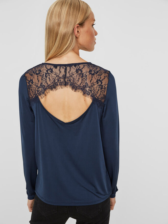 LACE BLOUSE, Navy Blazer, large