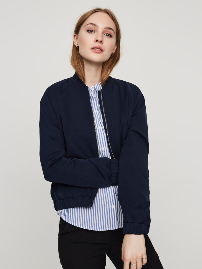 FEMININE SHORT JACKET, Navy Blazer, large