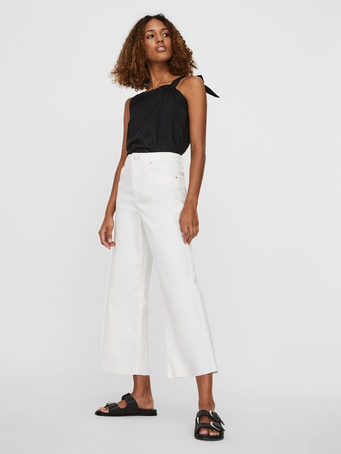 HIGH WAISTED CROPPED JEANS, Bright White, large
