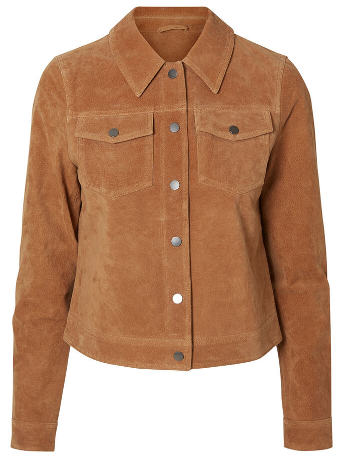 COOL LEATHER JACKET, Tobacco Brown, large