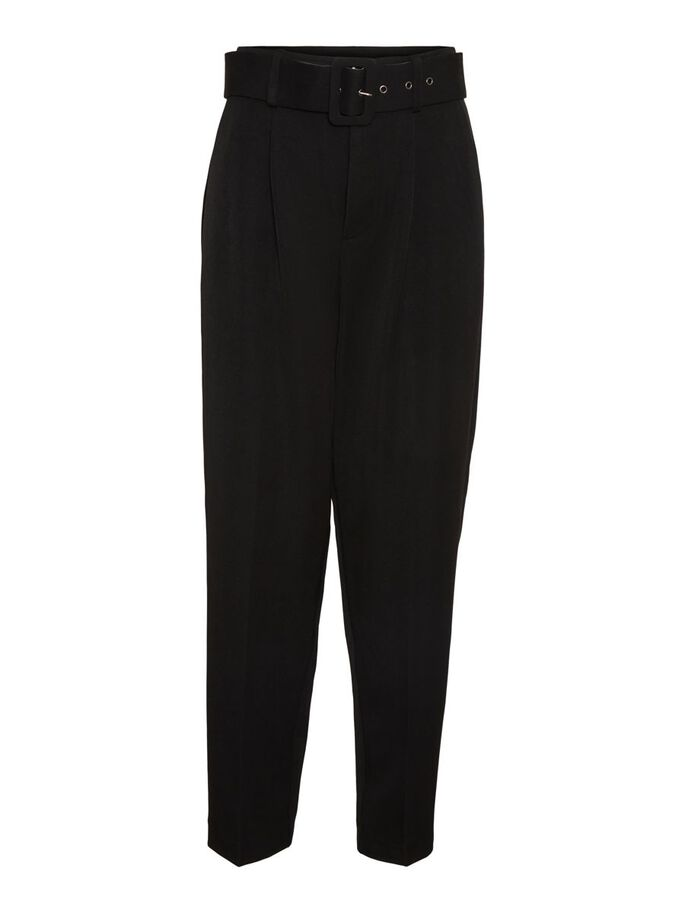 HIGH WAIST TROUSERS, Black, large