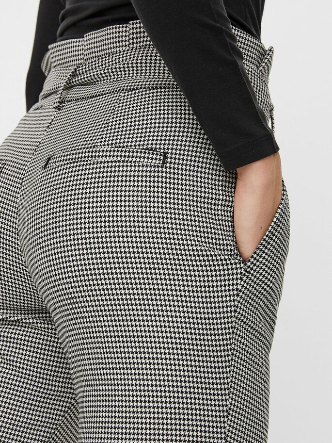 HIGH WAIST CHEQUERED PAPERBAG TROUSERS, Black, large